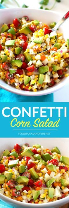This Confetti Corn Salad is a refreshing, light side dish that's perfect for summer dinners, potlucks, parties, and more! | Summer Recipe | Summer Salad | Summer Side Dish | Corn Avocado Salad