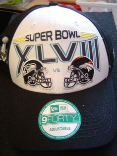 c44175462 Super Bowl XLVIII Embroidered Cap By New Era - Adjustable Strap   NewEra9Forty  SeattleSeahawks Embroidered