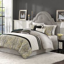 BEAUTIFUL MODERN ELEGANT GREY BLACK YELLOW SCROLL COMFORTER SET QUEEN OR KING