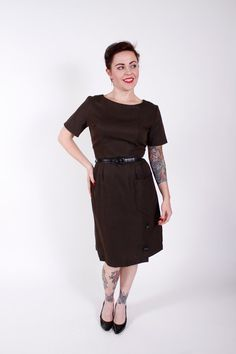 1950s Vintage Dress Brown Black Striped 1950s by stutterinmama, $72.00