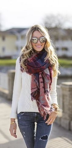 I love this color combination with the soft white and rich colors of the scarf. Jeans are a great wash.