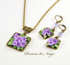 Lilac pendant and earrings by LissDodgson on DeviantArt Polymer Clay Necklace, Polymer Clay Pendant, Polymer Clay Charms, Polymer Clay Art, Biscuit, Polymer Clay Embroidery, Metal Clay Jewelry, Polymer Clay Flowers, Polymer Clay Projects