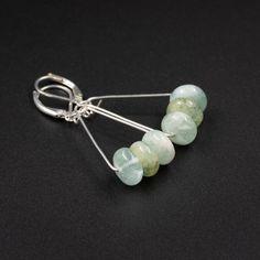 Aquamarine and silver filled handmade semiprecious stone earrings. Natural aquamarine long drop boho earrings, aquamarine jewelry by CretanHareCreations on Etsy