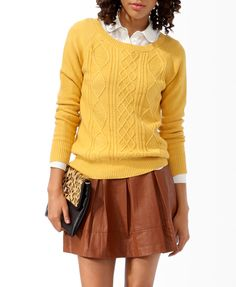 Cable Knit Front Sweater | FOREVER21 - 2027704797