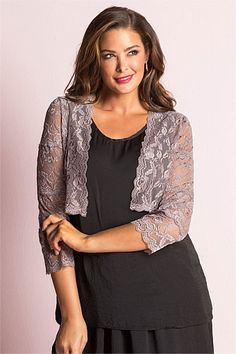 Grace Hill Woman Lace Bolero - EziBuy New Zealand - over a thin strapped dress? Lace Bolero, Fashion Online, Women Wear, Coats, Clothes For Women, Woman, Clothing, Sweaters, Pullover