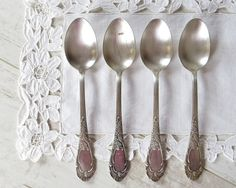 Vintage Tablespoons Dinner Spoons Soup Spoons Silver Plated Spoons Set of 4 Spoons Vintage Flatware Serving Spoons