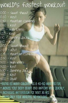 If your serious about your Health & Fitness and want to lose body fat, then you will find the time to workout! Try this 4 minute workout.Who hasn't got 4 minutes to workout? Fitness Workouts, Fitness Motivation, Fast Workouts, Sport Fitness, Body Fitness, Health Fitness, Workout Diet, Workout Exercises, Workout Schedule