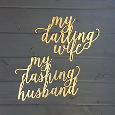 My Darling Wife & My Dashing Husband Chair Signs, Laser Cut Wedding Chair Backs Decorations Romantic Sweet Theme by Ngo Creations