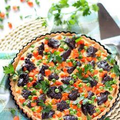 Papryka czereśniowa z fetą i ziołami, w oliwie | Smaczna Pyza Vegetable Pizza, Quiche, Feta, Vegetables, Breakfast, Morning Coffee, Quiches, Vegetable Recipes, Veggies