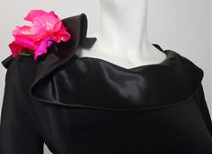 Black Cocktail Dress with Peplum and Rose circa 1950s by Minx Modes - Dorothea's Closet Vintage
