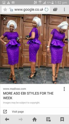 2016 Purple Short Lace Evening Dresses African Women Summer Party Dresses With Sleeves Sheath Knee Length Peplum Backless Prom Dresses African Lace Styles, African Print Dresses, African Fashion Dresses, African Attire, African Wear, African Women, African Dress, Nigerian Fashion, Ghanaian Fashion