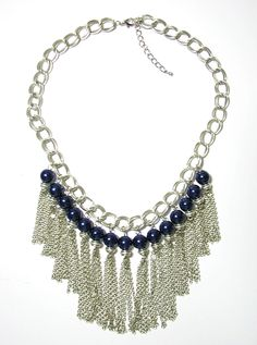 I the midnight blue pearls Purple Cow, Fringe Necklace, Blue Pearl, Midnight Blue, Pearls, Accessories, Jewelry, Fashion, Moda