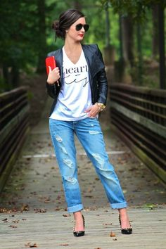 Boyfriend jeans + black blazer + red clutch highlight + white #Sevenly graphic tee :)