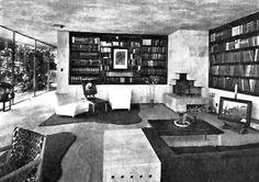 Vista de la biblioteca, Casa en San Ángel, San Ángel, Álvaro Obregón, México DF 1949   Arq. Jorge Rubio  Foto. Guillermo Zamora -  Library of a house, San Angel, Mexico City 1949