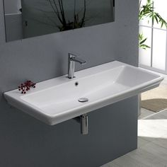 Bathroom Sink, CeraStyle 040100-U, Rectangle White Ceramic Wall Mounted or Self Rimming Sink - 32x19 ADA - $490 Sink Drain, Drop In Bathroom Sinks, Drop In Sink, Bathroom Basin, White Bathroom, Washroom, Small Bathroom, Master Bathroom, Bathroom Ideas
