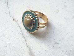 Anello vintage dorato fatto con bottone antico, azzurro e verde, per donna, elegante e per tutti i giorni, gioielli, spedizione gratuita