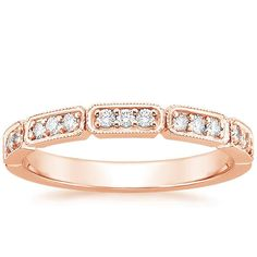 14K Rose Gold Deco Diamond Ring, top view;$1,050