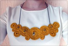Ocher Crochet Necklace With Beads