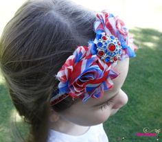 4th of July Sparkle Glitter and Shine Red, White, and Blue Total Shabby Chic Girl Headband- Patriotic, Independence Day, Military Homecoming Available newborn to adult! By Katice's Bowtique