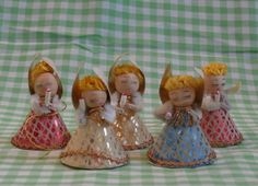 5 Vintage Spun Cotton and Paper Angels Holding Candles, Japan Made Christmas Angel Decorations by MendozamVintage on Etsy