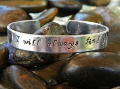 "Once Upon A Time Inspired: I Will Always Find You. Perfect for any fan of the hit TV show Once Upon A Time! This cuff is hand stamped with the quote ""I will always find you"". A sweet saying even for non fans. Want to create your own one-of-a-kind bracelet? Click here to start from scratch: http://www.shop.purplepelicandesigns.com/Create-Your-Own-Custom-Bracelet-1999.htm"
