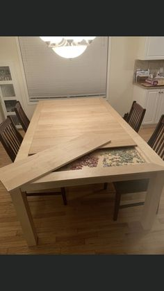 Must build this! Dining room table with built in puzzle box. Furniture Projects, Furniture Makeover, Home Projects, Home Furniture, Folding Furniture, Dream Furniture, Furniture Making, Gaming Table Diy, Diy Dining Table