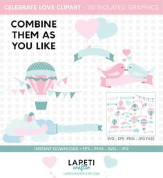 Visit my Etsy shop for more cliparts #lapeticrafter #hotairballoon #valentinesday #loveclipart #instantdownload #etsyshop Hot Air Balloon Clipart, Baby Shower Clipart, Create Invitations, Vinyl Cutting, Balloons, Card Making, Paper Crafts, Clip Art, Valentines