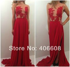 Free Shipping A Line Sexy Revealing Long Red Prom Gown Lace Appliqued Nude Back High Slit Red Sexy Club Dress Evening US $148.00