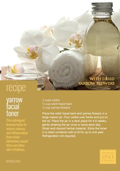 [ DIY: Yarrow Flower Facial Toner Recipe ] This astringent formula helps to reduce redness and inflammation from minor blemishes, insect bites and other skin irritations. Made with: vodka, witch hazel bark, and yarrow flowers. ~ from Monterey Bay Spice Co.
