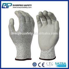 13 Gauge Knitted PU Coated on Palm Gloves Level 5 Cut Resistant Work Gloves