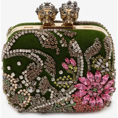 "Alexander McQueen Embroidered ""queen And King"" Skeleton Box Clutch (€2.705) ❤ liked on Polyvore featuring bags, handbags, clutches, borse, multicolour, metallic handbags, box clutch, metallic clutches, beaded clutches and chain strap purse"