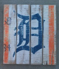 Old English D, Detroit, Tigers, Vintage-looking Pallet wood hand made, hand painted sign (X5)