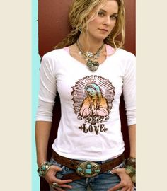 LOVE GUADALUPE 3/4 TEE - Junk GYpSy co. Love the Neck line ... Gonna try it on one of my T's !!!