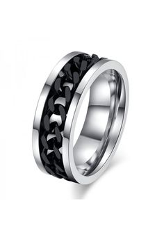59329b12da66 Anillo Punk Rock accesorio de acero inoxidable chain spinner para hombre  Anillos De Hombre Plata