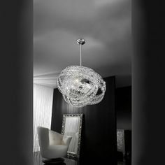 Modern chandelier made with lead crystal PbO and a metallic frame nickel or gold plated. The light is diffused from dozens of crystal stars which will add a beautiful texture to glamorous environments. Modern Pendant Light, Modern Chandelier, Interior Lighting, Lighting Design, Pendant Lamp, Pendant Lighting, Luxury Modern Homes, Galaxy, Living Spaces