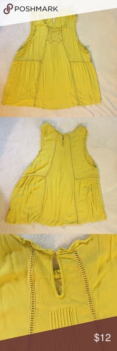 Forever 21+ tank Mustard yellow shirt with crochet and pleat detail. Ruffles around the arm. Forever 21 Tops Tank Tops
