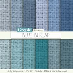 """SALE 50% Burlap digital paper: """"BLUE BURLAP"""" with burlap / canvas / linen textures in bright blue and turquoise / teal shades   di"""