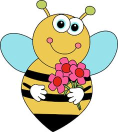 Free Bee and Flower Clipart Image - Bee and Flower Clipart ~ Free Clipart Images Very Easy Drawing, Easy Drawings, Bee Pictures, Free Stencils, Flower Clipart, Bee Theme, Cartoon Images, Emoji, Illustration Art
