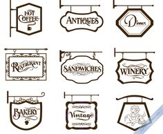 Vector Vintage Store Signs set II by DaPinoGraphics