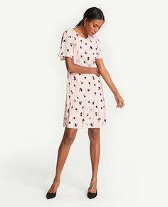 Petite Floral Flounce Hem Shift Dress | Ann Taylor