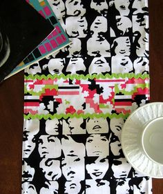 Retro Op Art Psychedelic Faces Table Runner, Hand Made by Tiki Queen