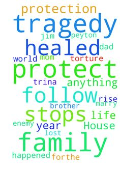 Marriage/Family/Tragedy/Employment/House -  Please pray that I marry KATIE. Please pray that Jesus protects me from attacks from the enemy, I am alone and attacked often. Please pray that my boss is kind to me and shows me respect. Please pray that thehold the adversary has over my Dad is broken. Please pray that my brother Eddie is healed, redeemed, and brought back to the family with all that he needs. Please pray that my cousin Joey, Mom, Stuart, Tamra, Trina, Ken, Steve,are allhealed…