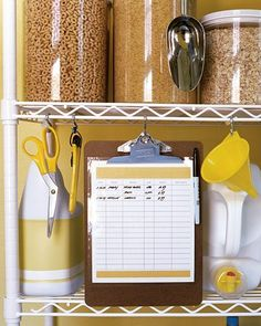 Near the pantry, create an inventory list so you know what items you have, as well as how much you paid per unit -- for the sake of future comparison shopping. Warehouse price labels usually contain the purchase price as well as a unit price, which tells you how much you pay for a standard quantity (100-count aspirin, for example). For products you buy often, make a note of the unit price; you can compare it with prices at other stores to find the best deals.