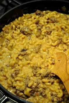 Home made hamburger macaroni and cheese