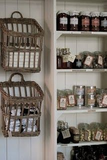Wall baskets to hold kitchen linens