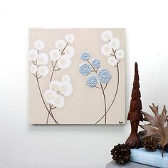 Original Acrylic Painting on Canvas  Textured Flower by Amborela, $38.00 #DeckYourHalls, #Novogratz, #Soundfreaq