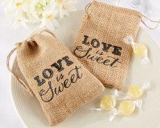 Love is Sweet Burlap Favour Bags|Love is Sweet Burlap Favour Bags