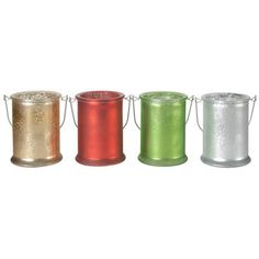 A&B Home Frosted Holiday Candle Holder - Set Of 4.