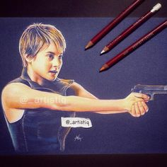 Tris from Insurgent!  Drawn with pastel pencils on blue paper. #Insurgent