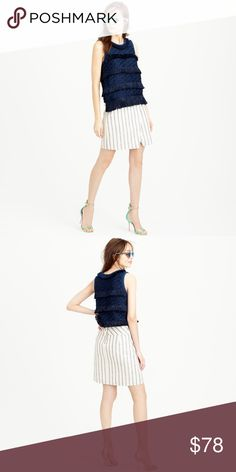 Linen Crossover Wrap Skirt in Stripe Tthe perfect work-to-weekend skirt: impeccable tailoring, flawless fabric and a modern silhouette. Linen construction, lined, back zip closure. Color is light cream with navy blue stripes. J. Crew Skirts